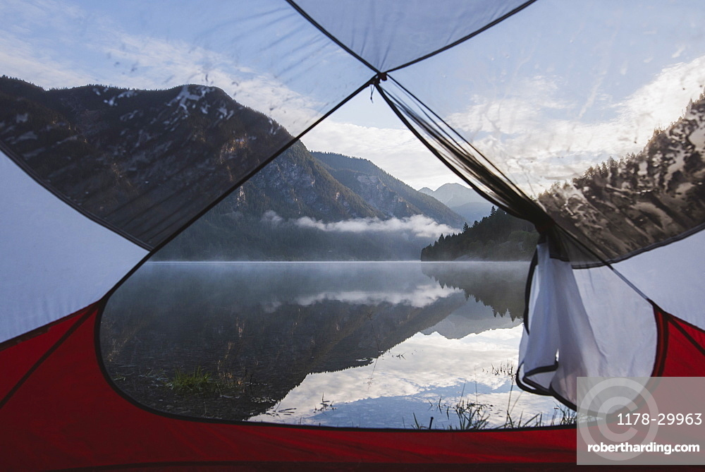 Austria, Plansee, Lake Plansee seen from tent in morning