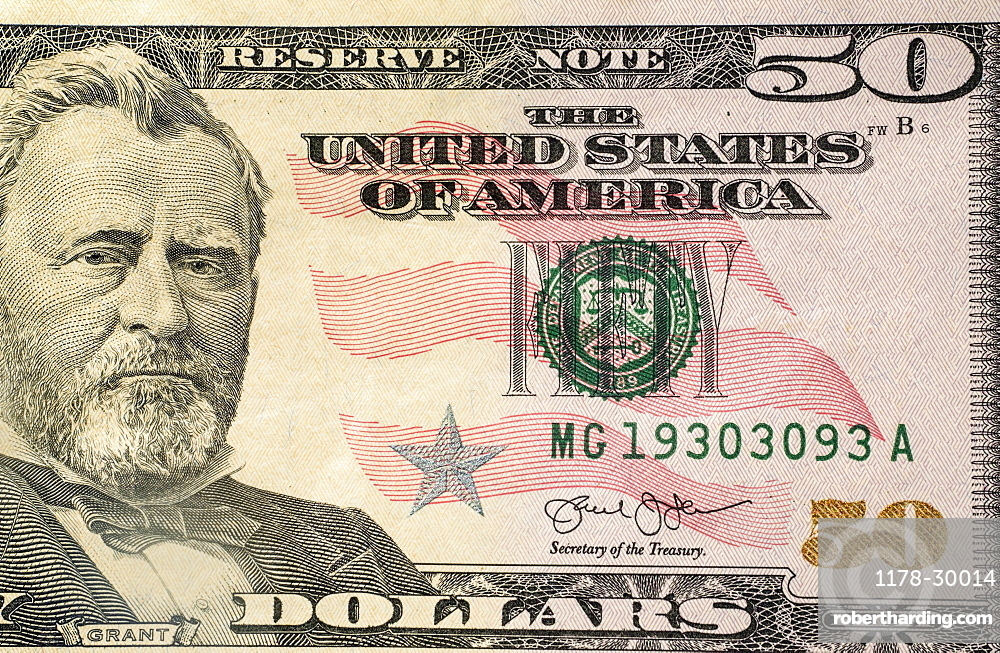 Close-up of US fifty dollar bill