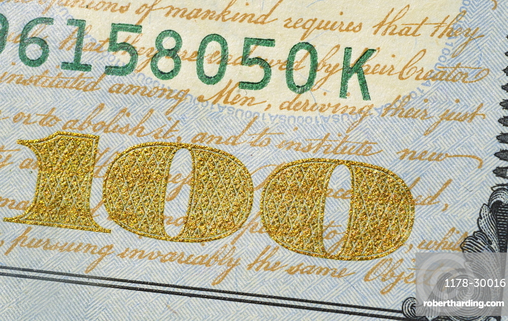 Close-up of US one hundred dollar bill