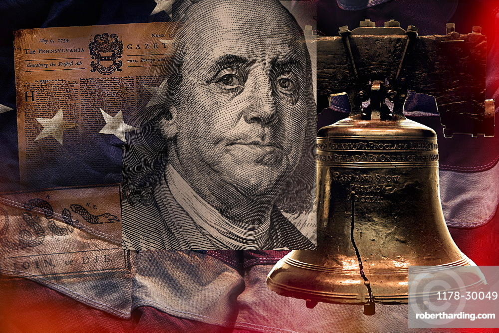 Benjamin Franklin, bell and newspaper against American flag