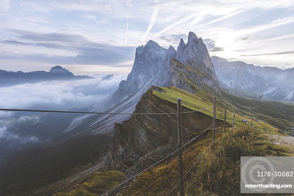 Italy, Dolomite Alps, Seceda mountain, Scenic view of Seceda mountain in Dolomites at sunrise