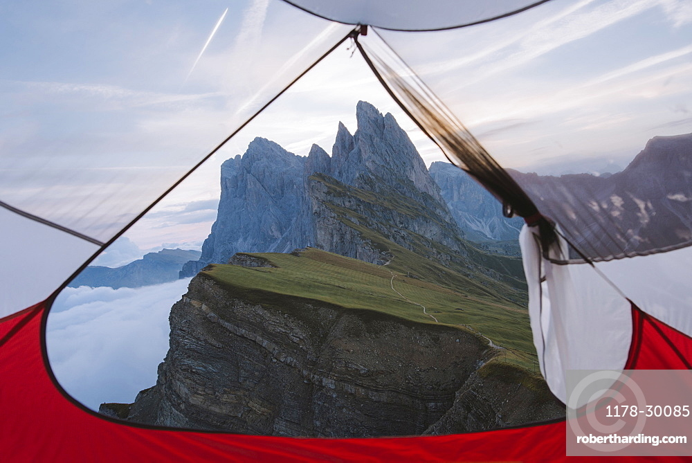 Italy, Dolomite Alps, Seceda mountain, View from tent on Seceda mountain in Dolomites