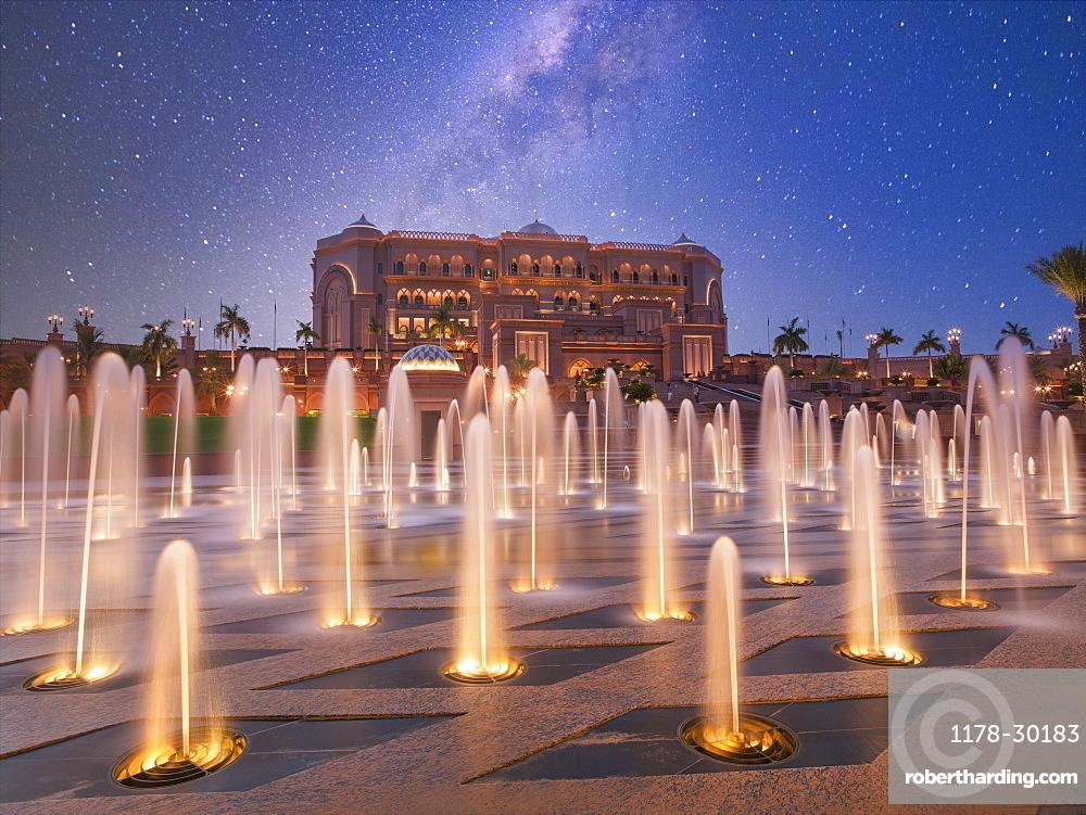 United Arab Emirates, Abu Dhabi, Fountain in front of Hotel Emirates Palace