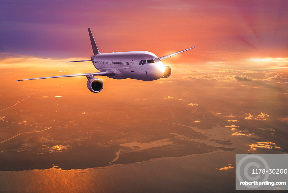 USA, New work, New York, Commercial jet at sunset
