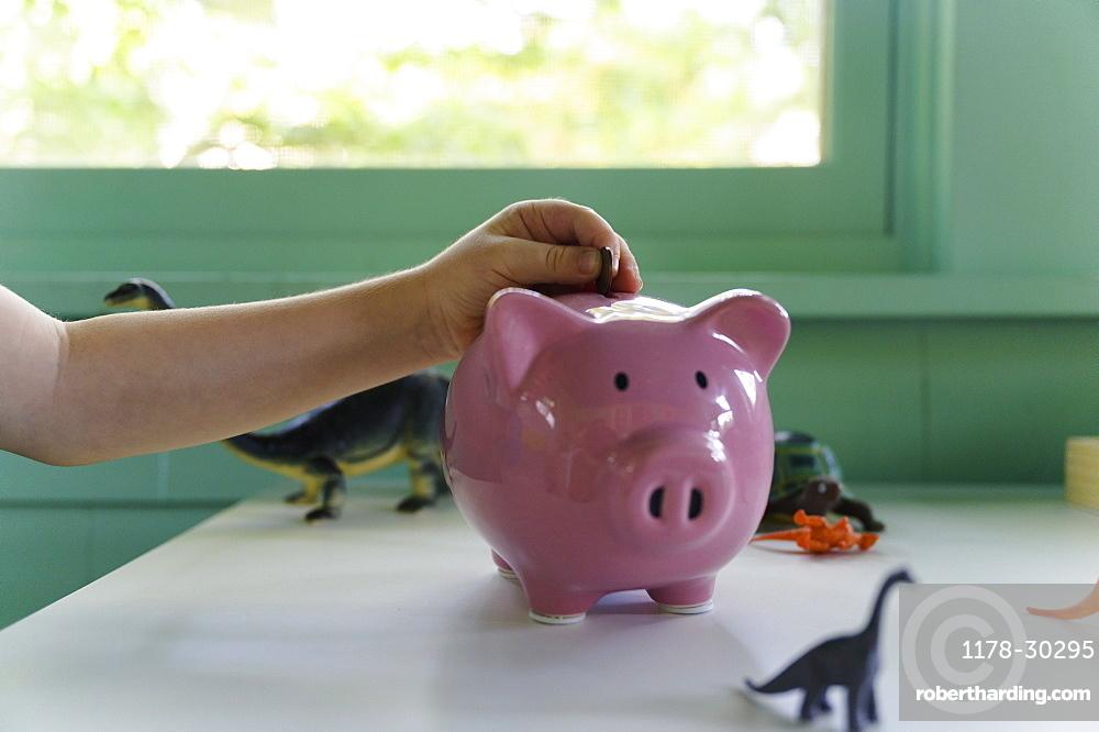 Boy (4-5) putting coin into piggy bank, close up