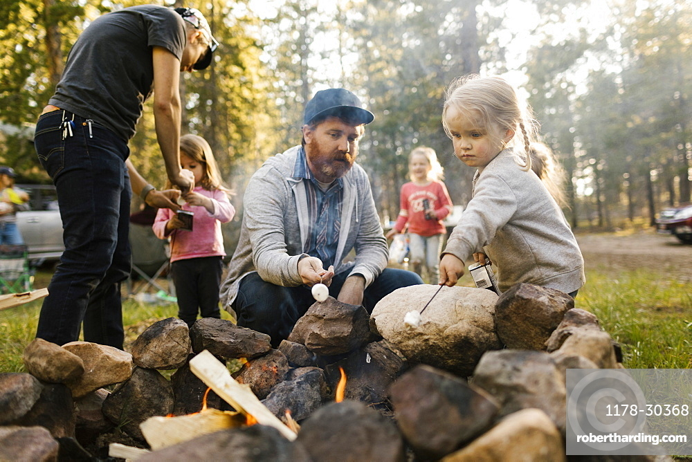 Family with three girls (2-3, 4-4, 6-7) roasting marshmallows above campfire, Wasatch-Cache National Forest