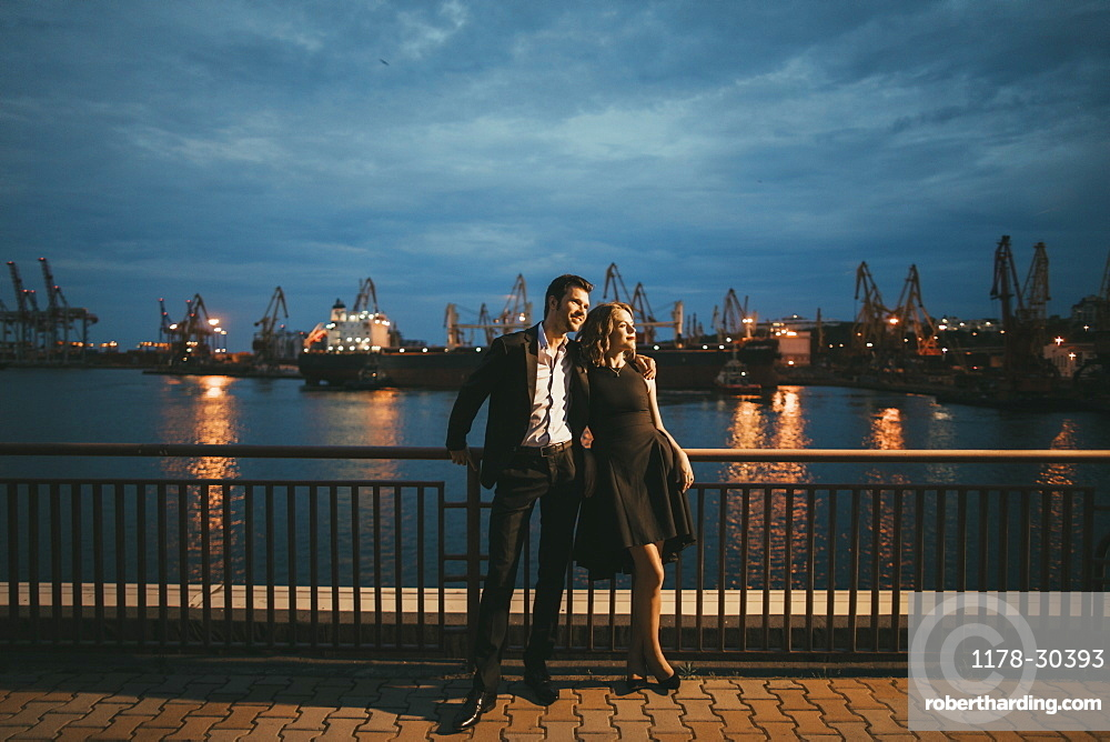 Ukraine, Couple on date at waterfront