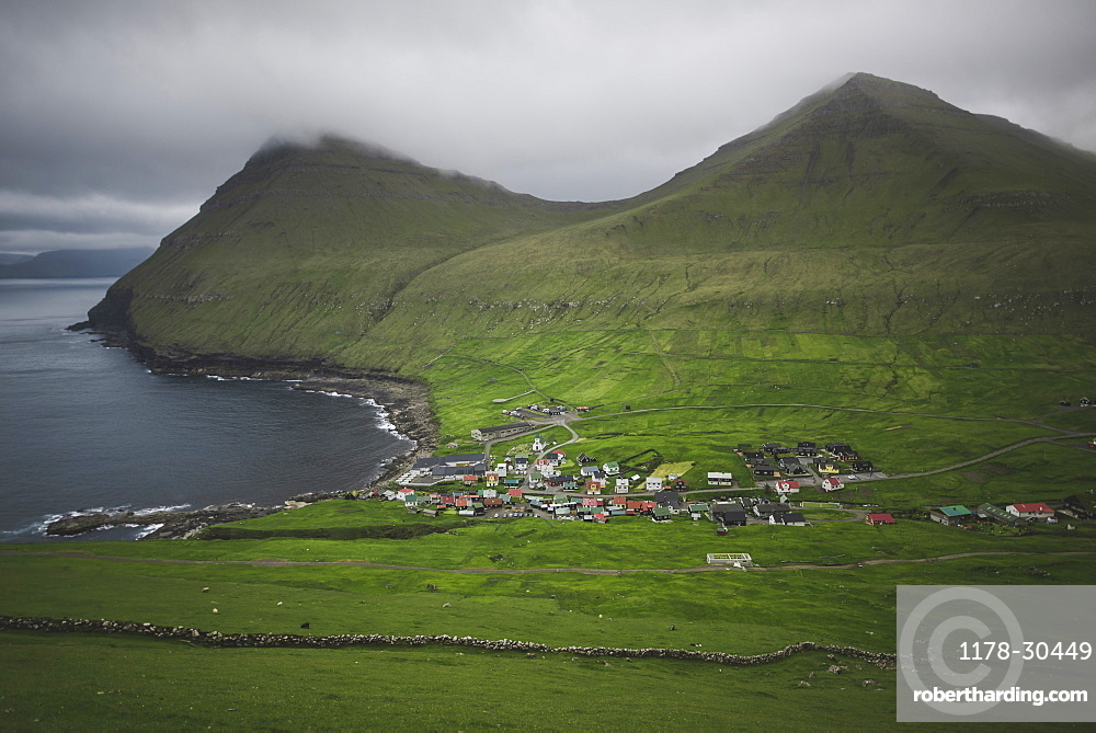 Denmark, Faroe Islands, Gjgv, Village on coast