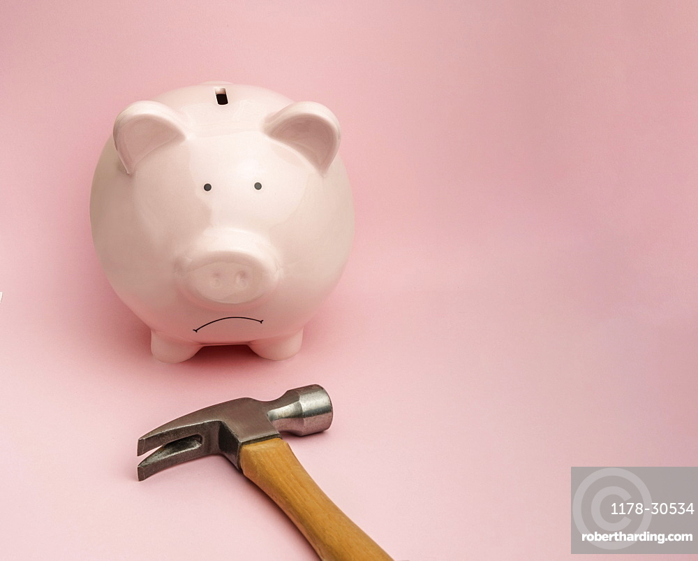 Piggy bank and hammer on pink background
