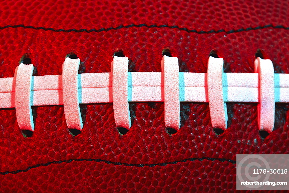 Detail of football stitching