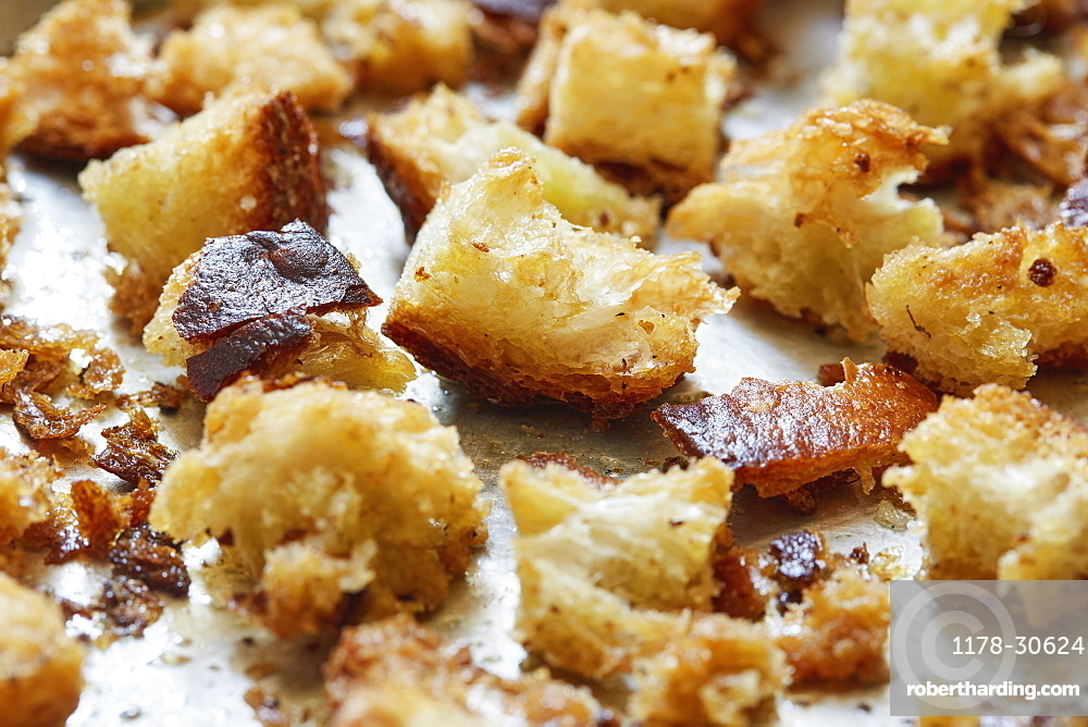 Close-up of croutons