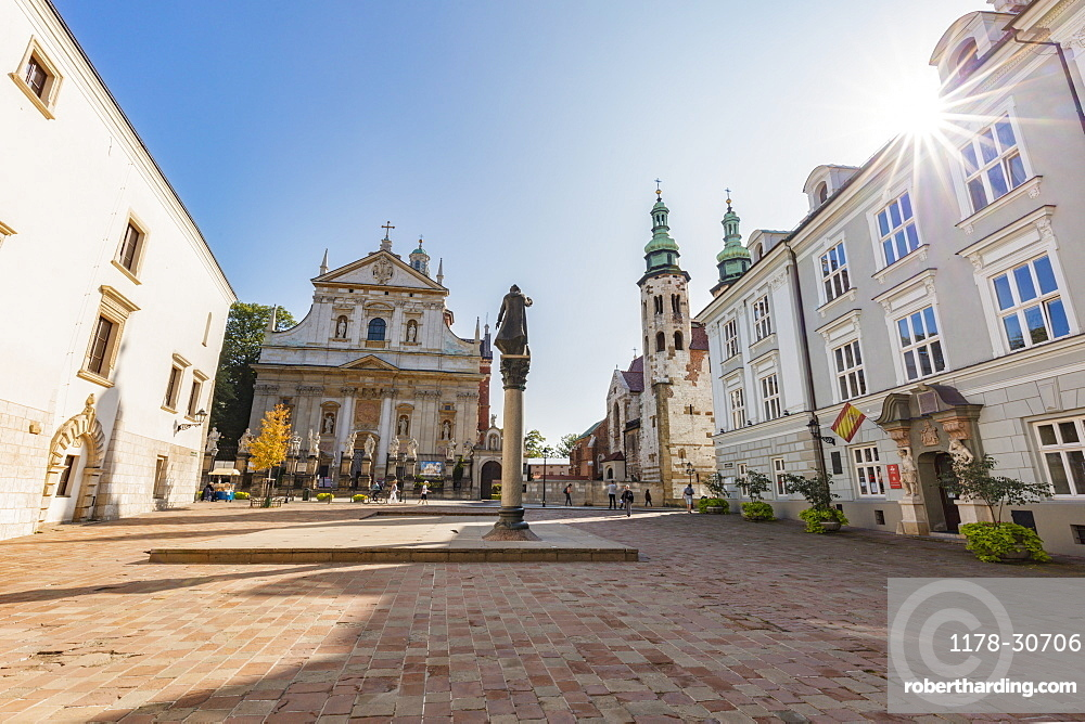 Poland, Lesser Poland, Krakow, Saints Peter and Paul Church and St. Andrews Church seen from St Mary Magdalene Square
