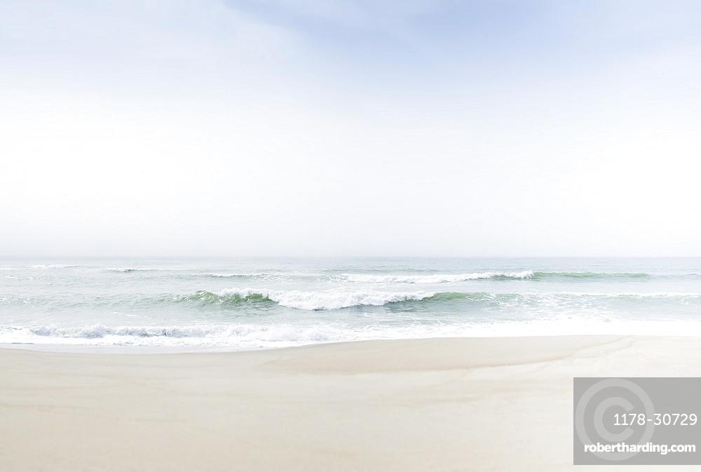 Fog over sea waves
