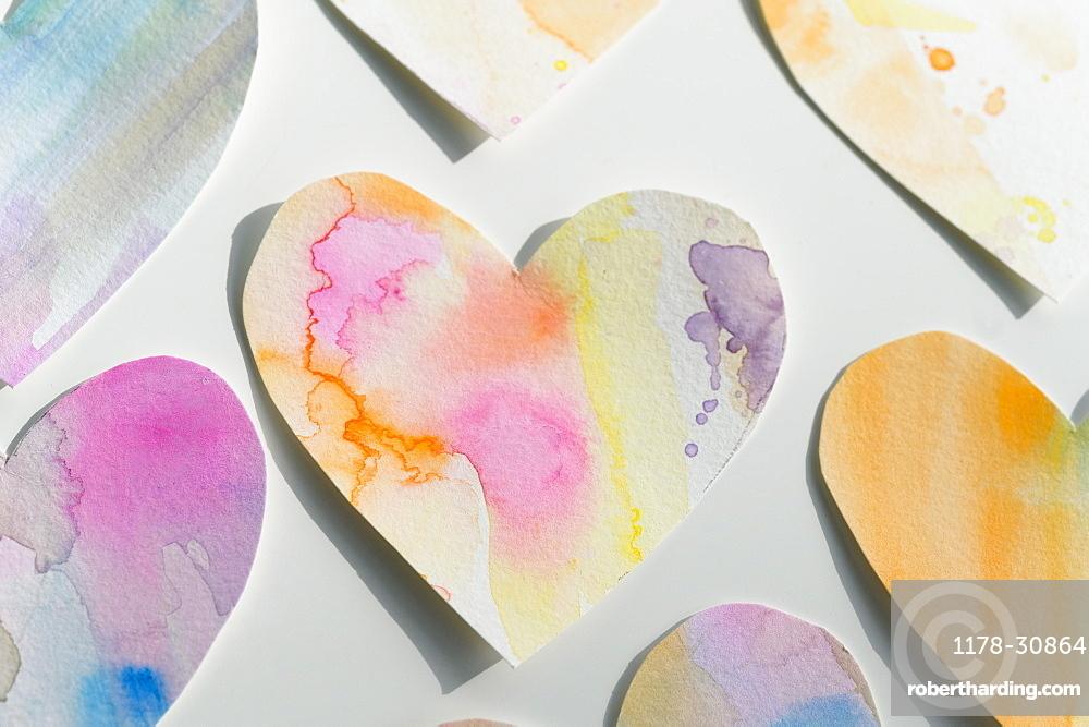 Studio shot of colorful paper hearts