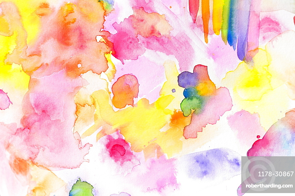 Close-up of watercolor colorful abstract pattern