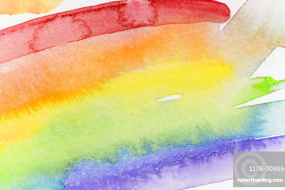 Close-up of watercolor rainbow