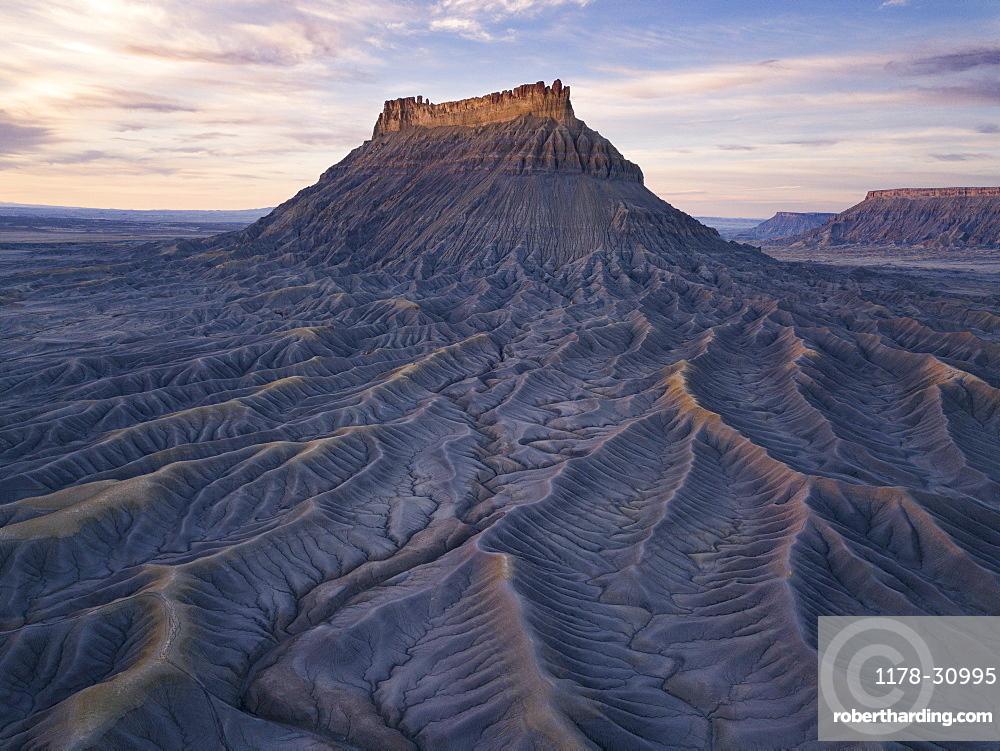 United States, Utah, Desert landscape with rock formation