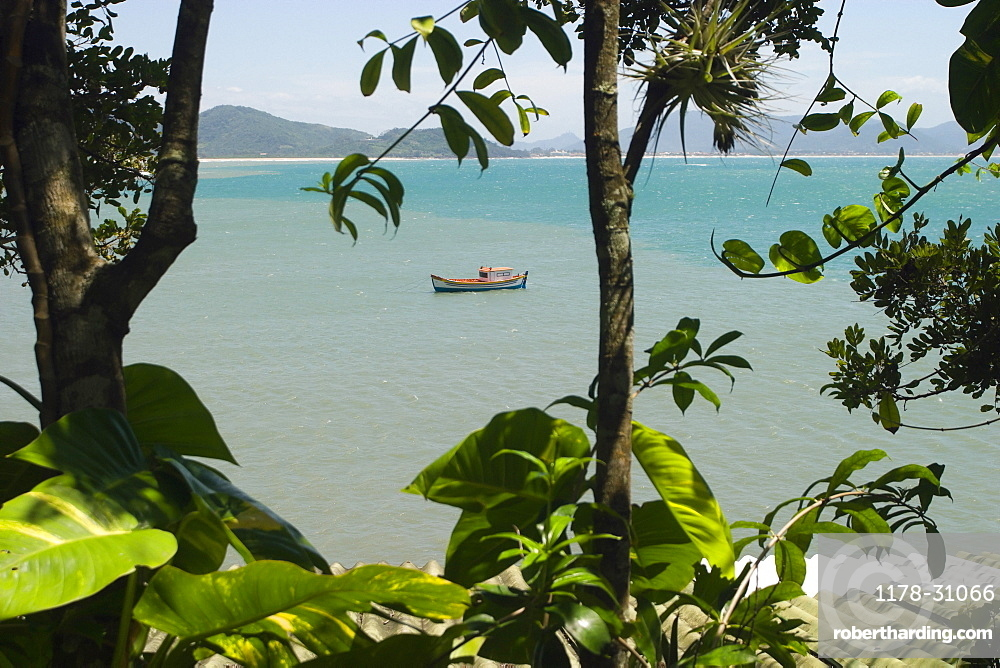 Fishing boat in sea, Matadeiro beach, Florianopolis, State of Santa Catarina, Brazil