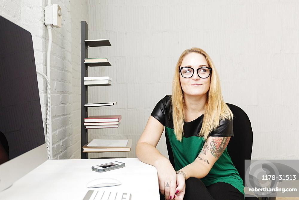 Portrait of businesswoman in design office