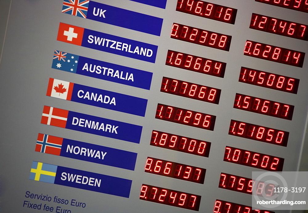 Electronic display of exchange rates