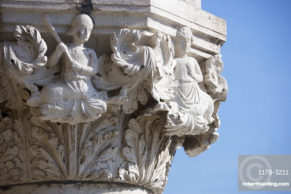 Column detail on the Doges' Palace Venice Italy