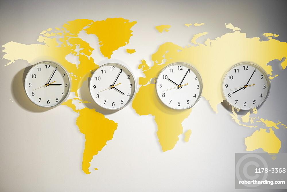 World map with clocks