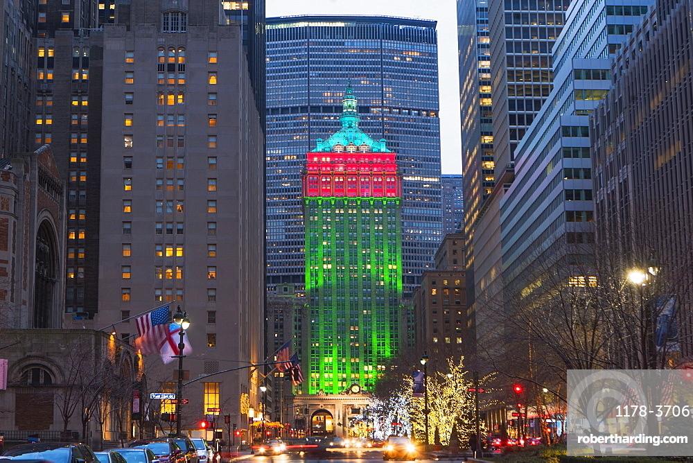 Christmas decorations on Manhattan, New York City, USA
