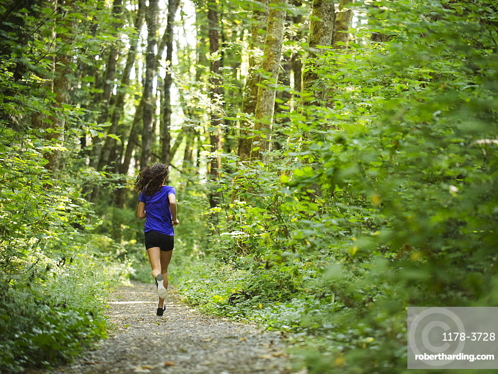 Rear view of young women jogging in forest, USA, Oregon, Portland