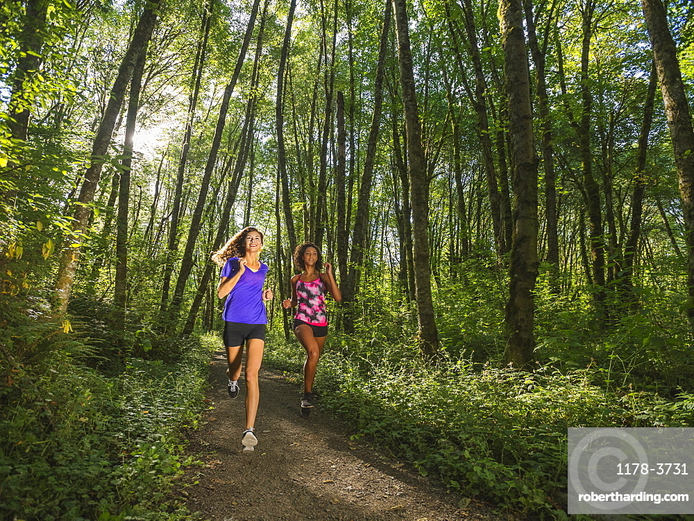 Two young women jogging in forest, USA, Oregon, Portland
