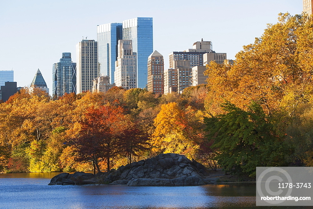 View of Central Park in autumn, USA, New York State, New York City