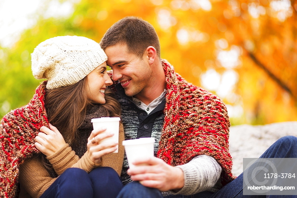 Portrait of couple in Central Park, USA, New York State, New York City