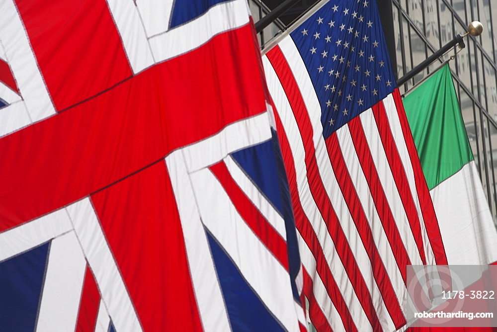 British, American and Italian flags