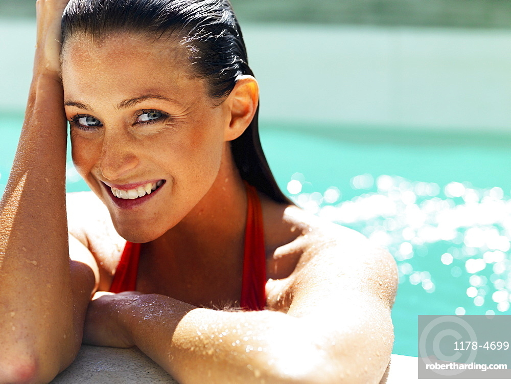 Woman at side of pool