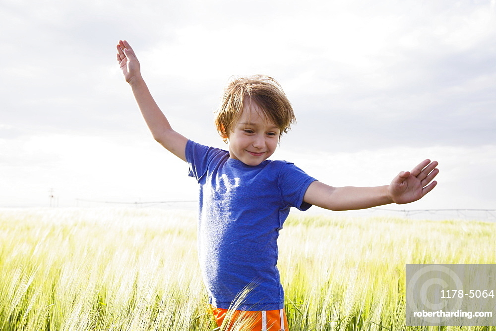 Boy (4-5) standing in grass with raised arms, Colorado, USA