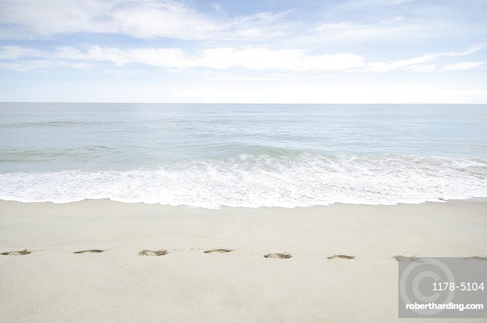 Foorprints on beach, USA, Massachusetts, Nantucket