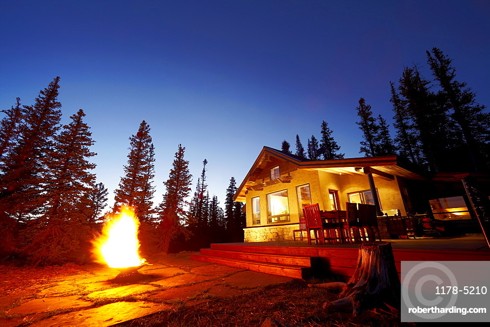 Fire pit in front of house, Colorado, United States