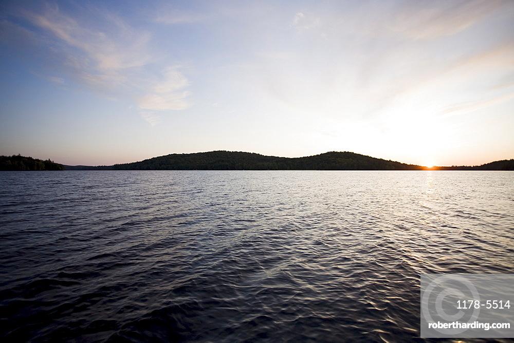 USA, New York State, Adirondack Mountains, Lake Placid at sunset