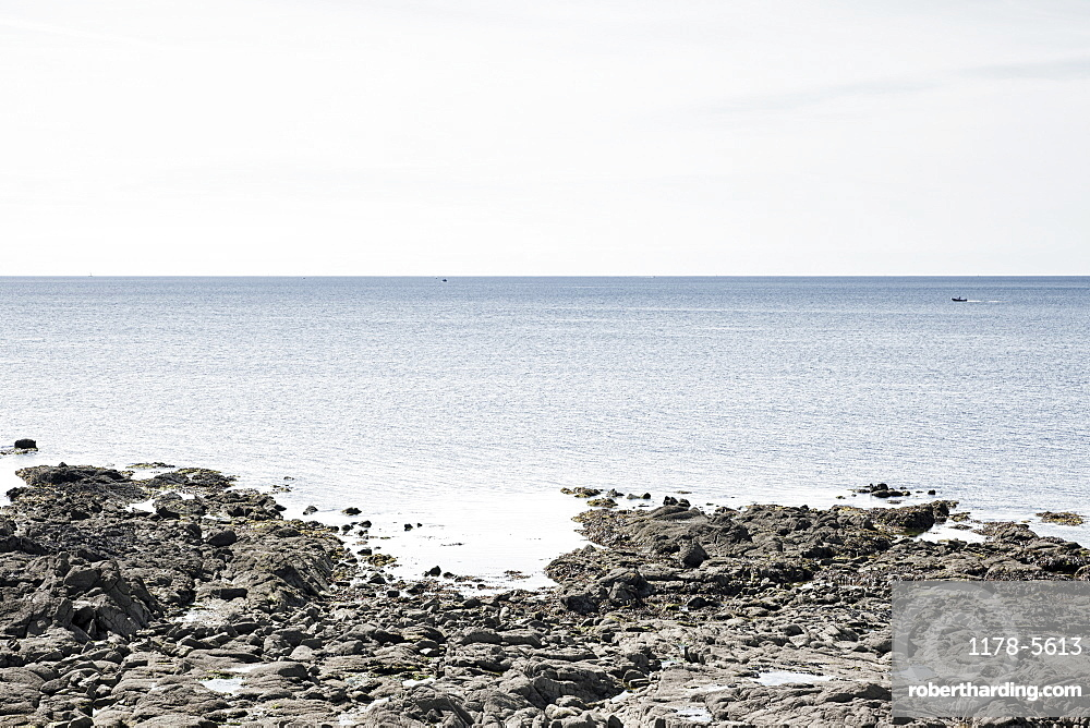 France, Brittany, Rocky beach and ocean