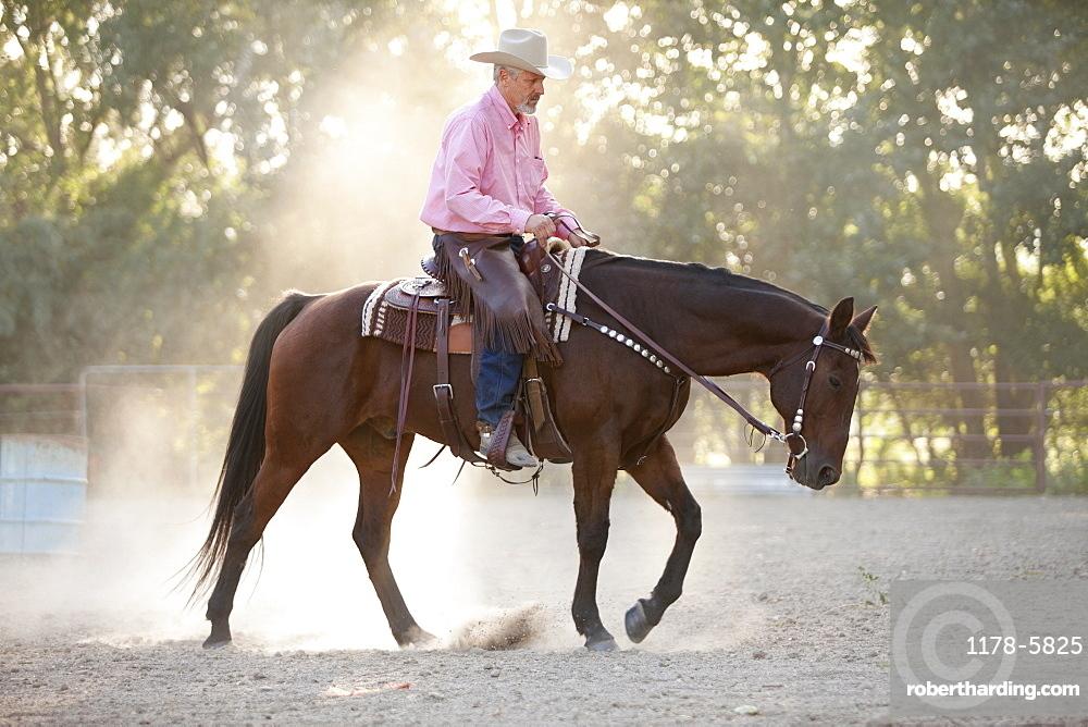 Senior man horseback riding in ranch