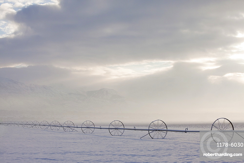 Irrigation equipment on a snow covered field