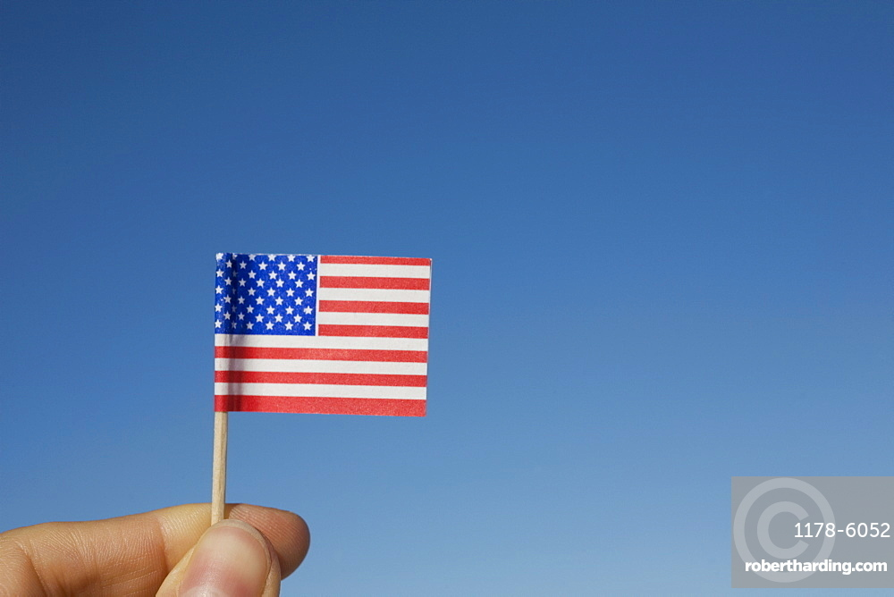 Hand holding small American flag