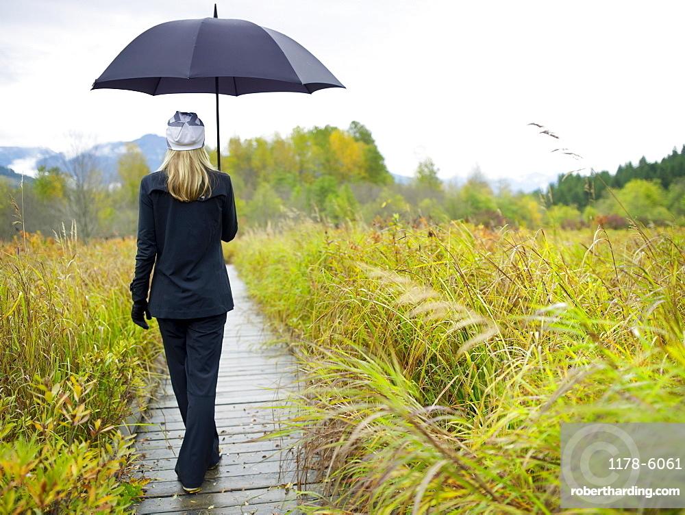 Person walking on boardwalk on rainy day