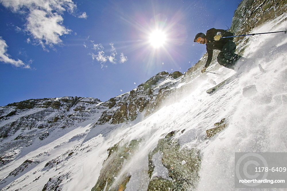 Skier skiing on snow, Aspen, Colorado, USA