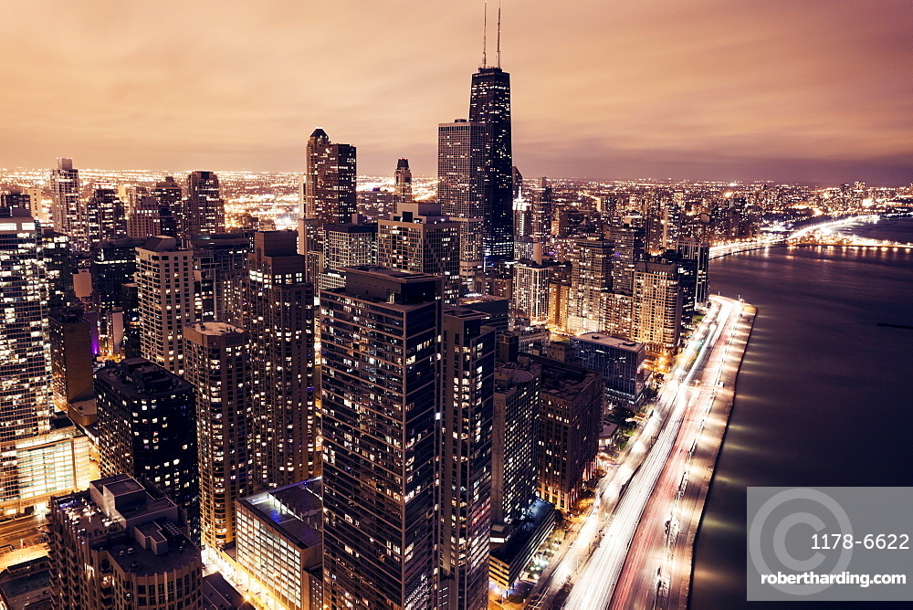 Elevated view of Lake Shore Drive and Chicago architecture at sunset, Chicago, Illinois