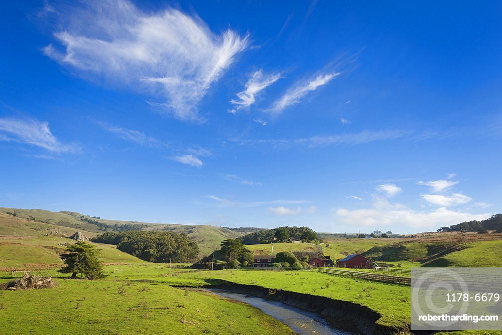 Idyllic landscape with farm, Bodega, California, USA