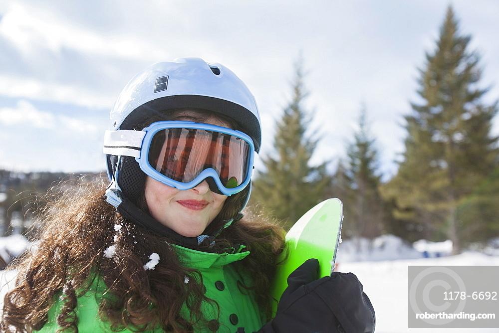 Portrait of girl skiing, USA, Montana, Whitefish