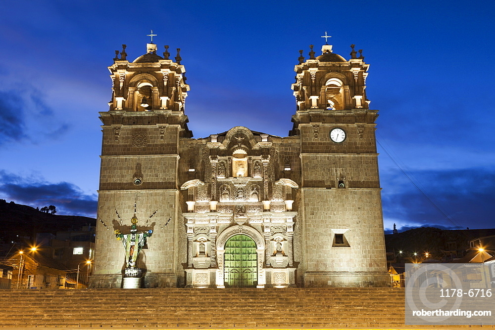 Cathedral at Plaza de amas mayor, Peru, Puno