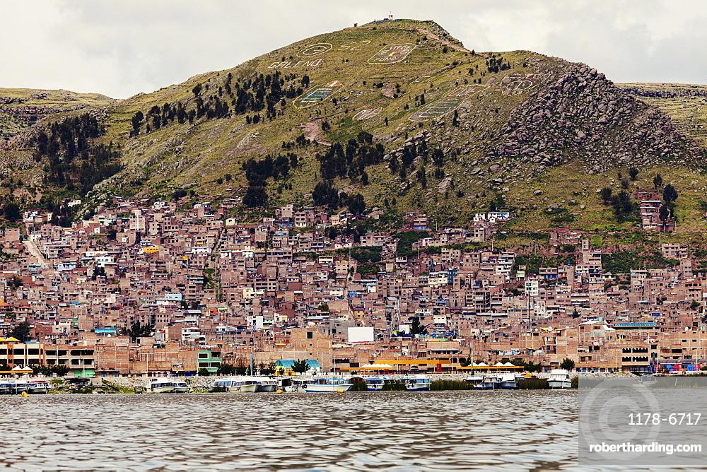 View of city from Titicaca Lake, Peru, Puno