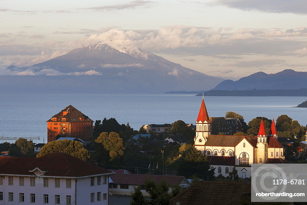 Town skyline with volcano in background, Chile, Lake District, Puerto Varas