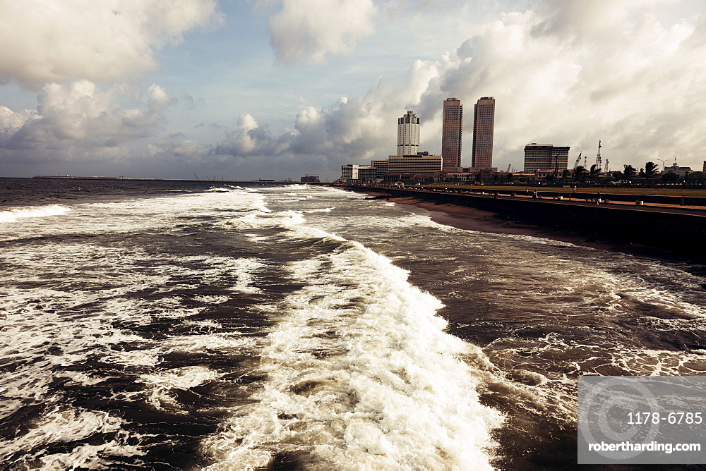 Waves of Indian Ocean and city skyline, Sri Lanka, Colombo